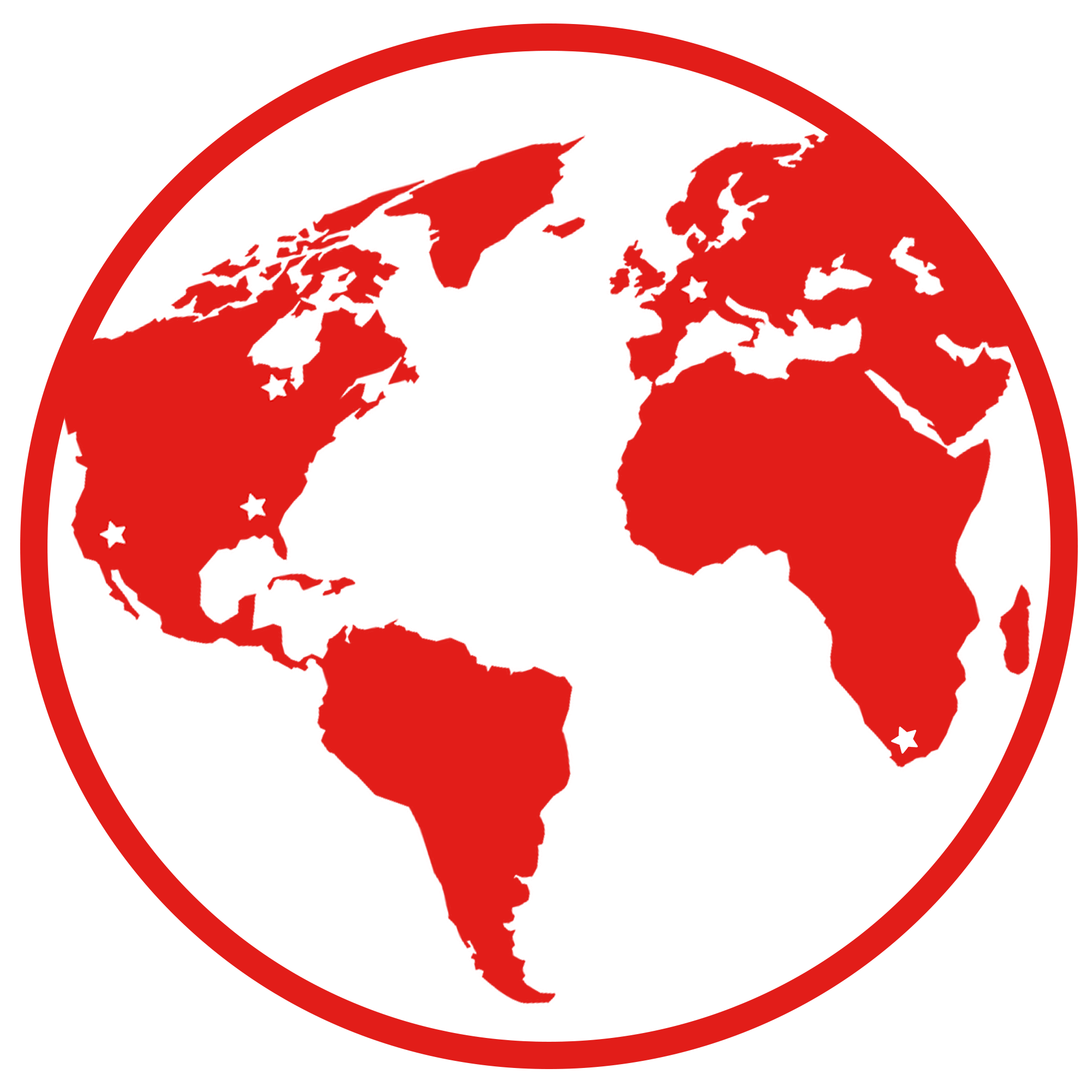 map of the world in red showing hosting locations